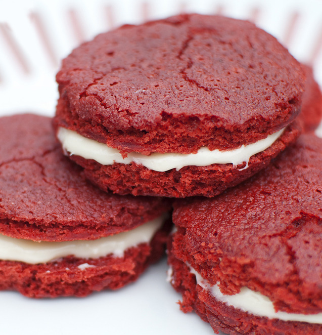 Red Velvet Cakewiches With Cream Cheese Icing.