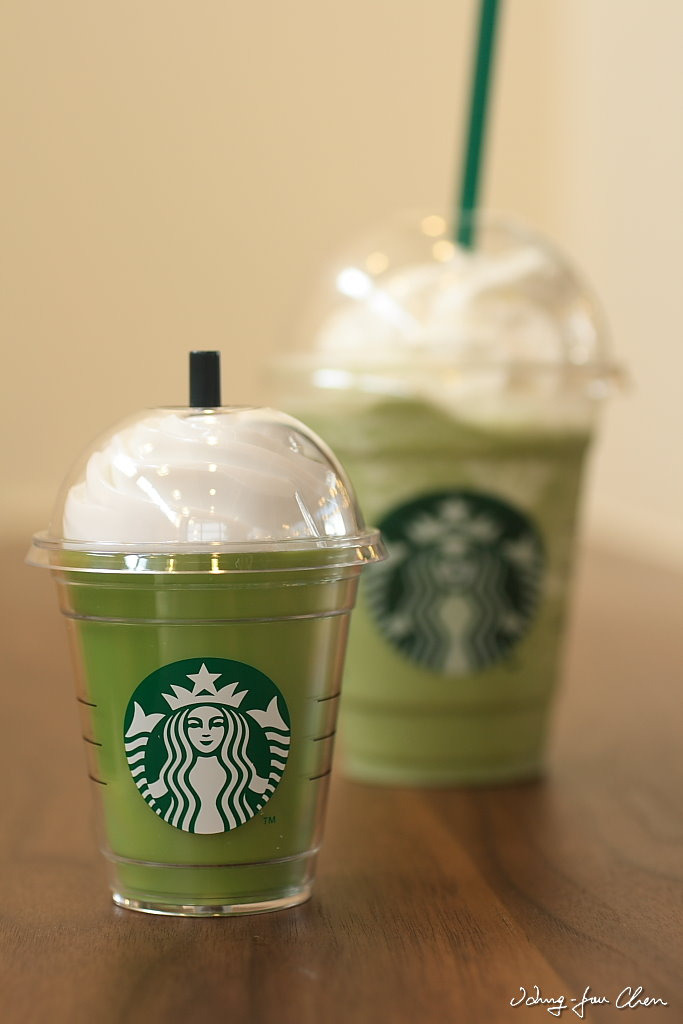 Green tea and Cream Frappuccino