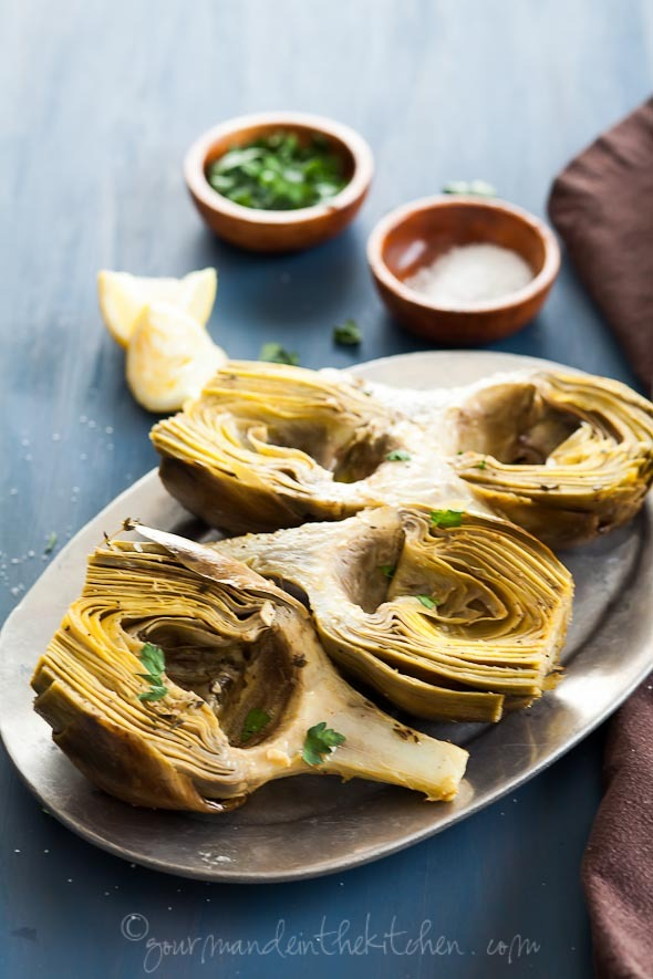 oven braised artichoke with garlic and thyme