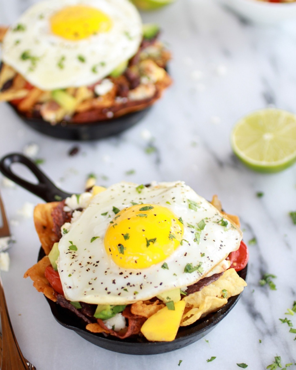 Simple Black Bean, Corn and Mango Chilaquiles with Queso Fresco