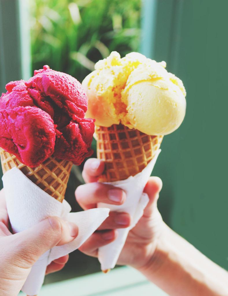 Raspberry & Banana Ice Cream Cones