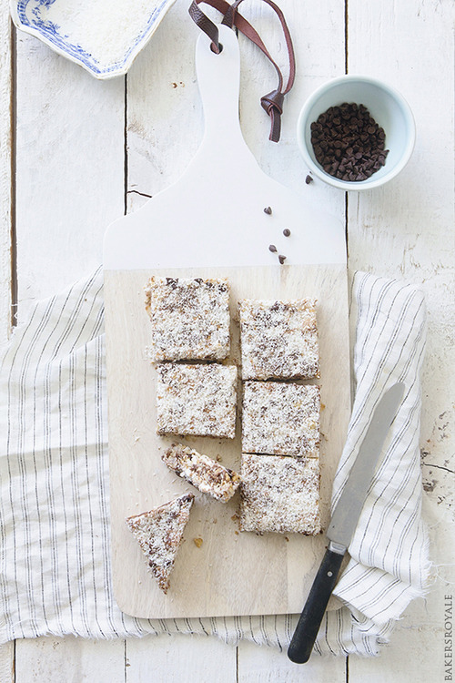 Coconut, Chocolate, and Almond Bar Bakers Royale on We Heart It.