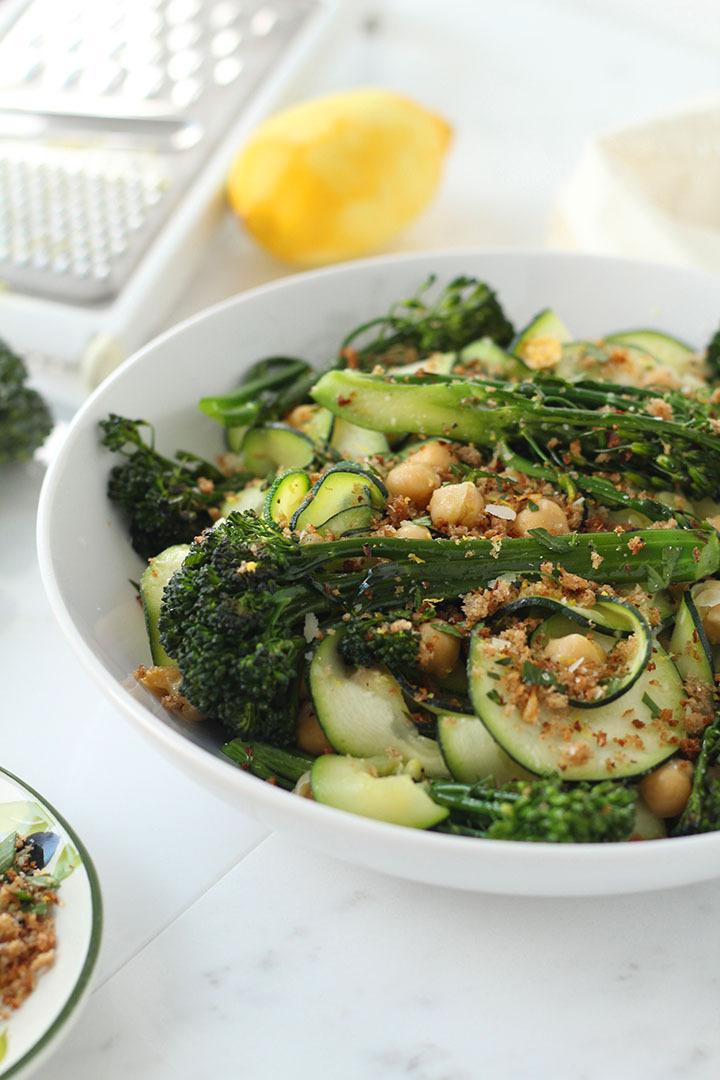 Broccolini and Chickpea Parmesan Zucchini Pasta with Gremolata Breadcrumbs