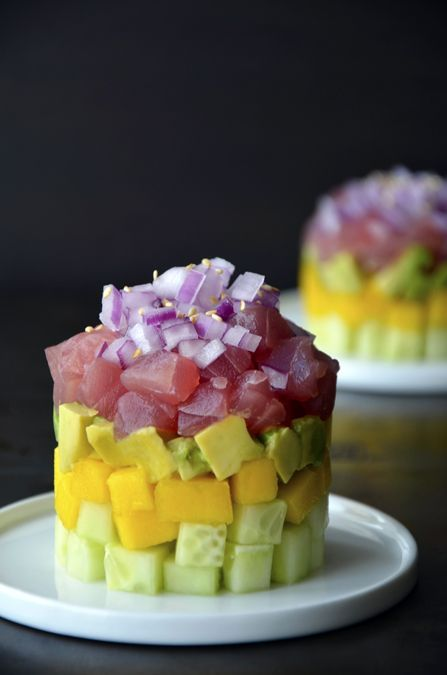 Ahi Tuna Stacks with Ginger-Soy Dressing (Just a Taste)