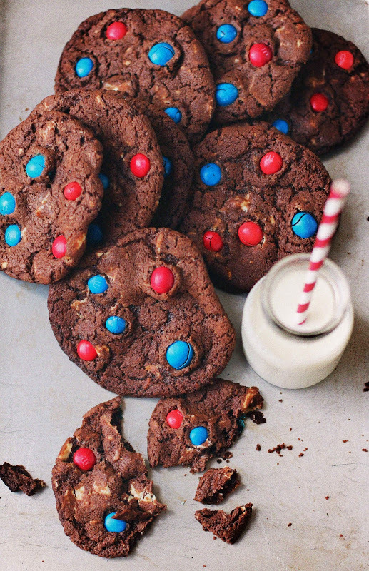 M&M Cookies with White Chocolate Chunks
