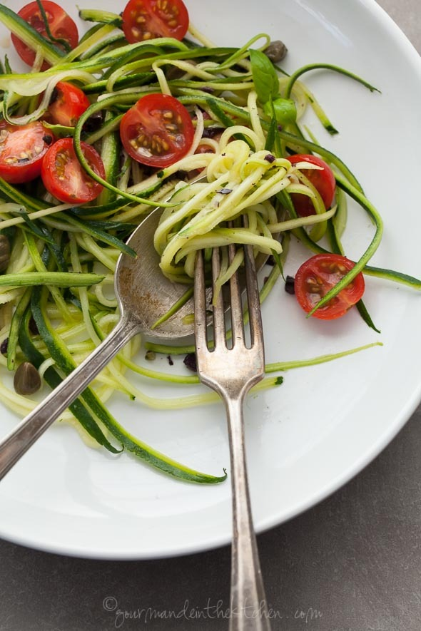 Zucchini Noodles with Caper Olive Sauce and Fresh Tomatoes RECIPE