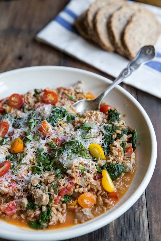 Magic in a pan.One-Pan Farro with Tomatoes, Sausage and Kale on The Vintage Mixer