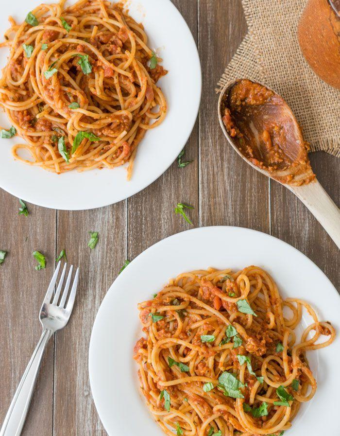 (via Vegan Meat Pasta Sauce Recipe One Ingredient Chef)