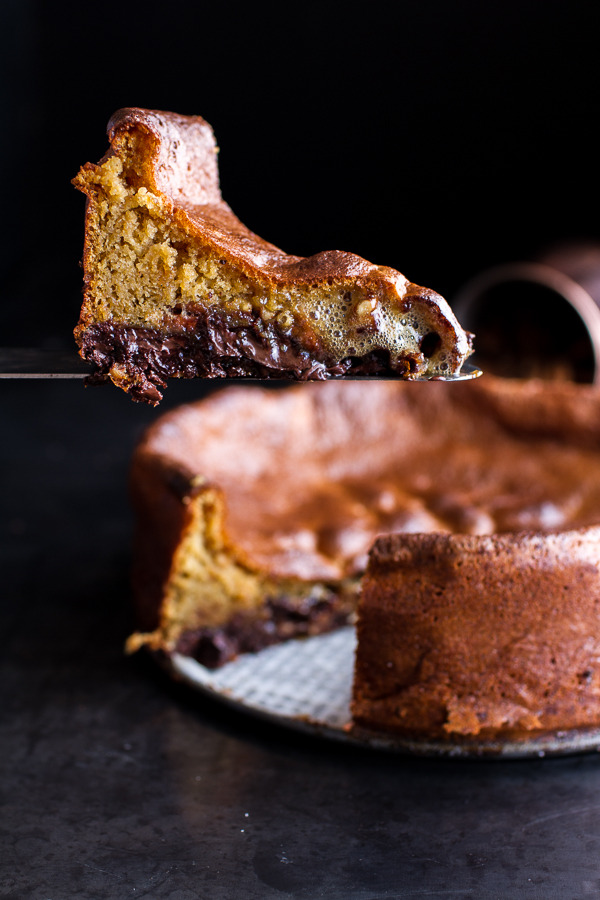 Incredibly Gooey Collapsing Chocolate Bourbon Pecan Pie Custard Cake