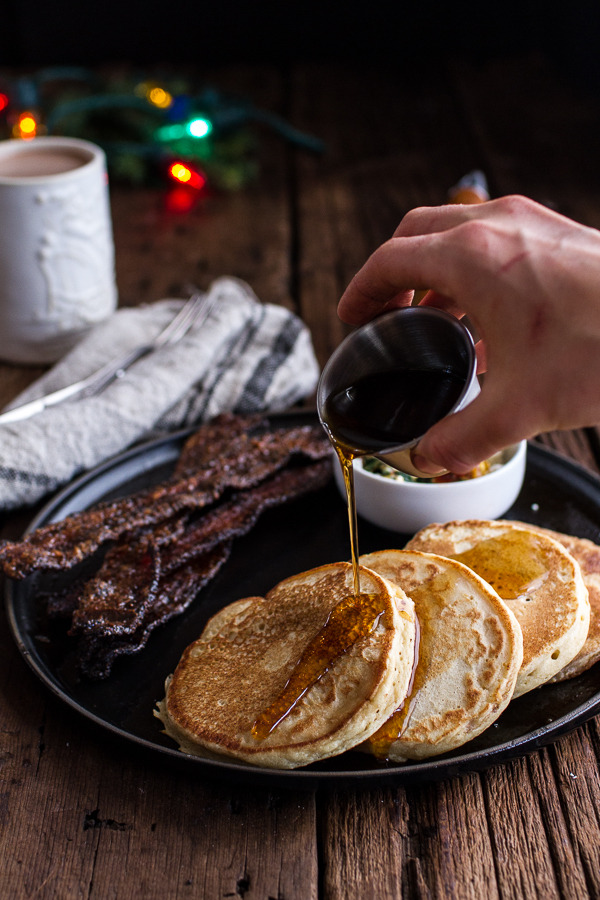 Buttermilk Ricotta Pancakes with Maple Candied Bacon and Eggs