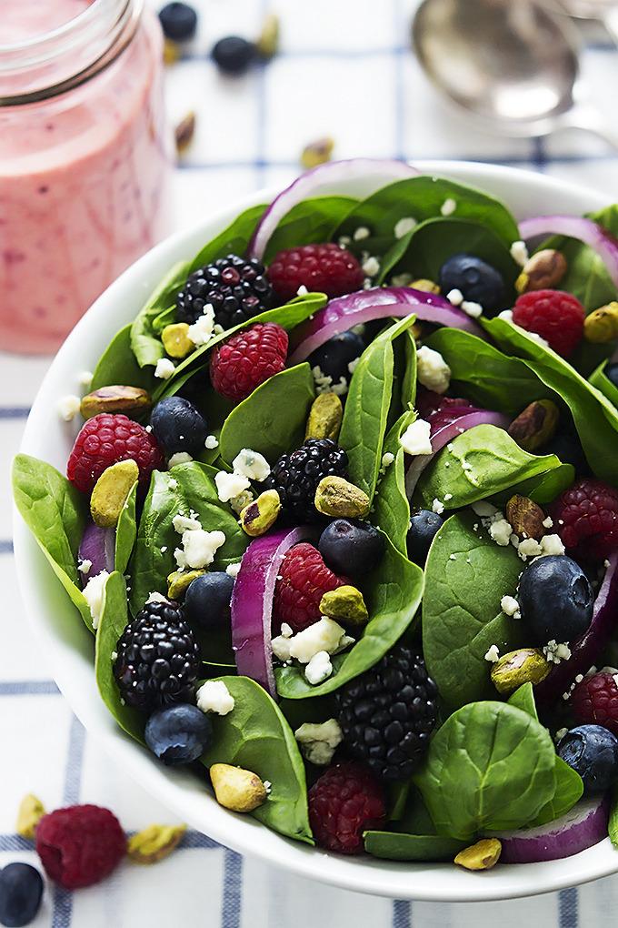 Berry Pistachio Spinach Salad with Berry Vinaigrette