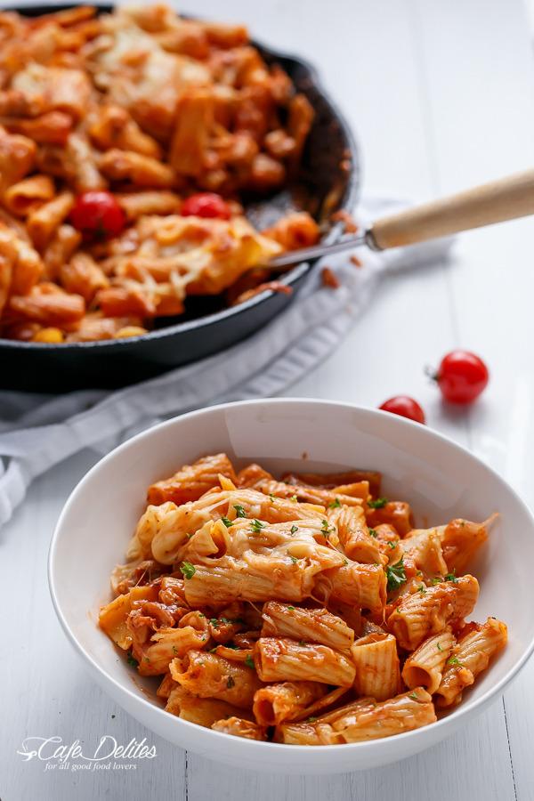 Chicken and Tomato Mozzarella Pasta Bake