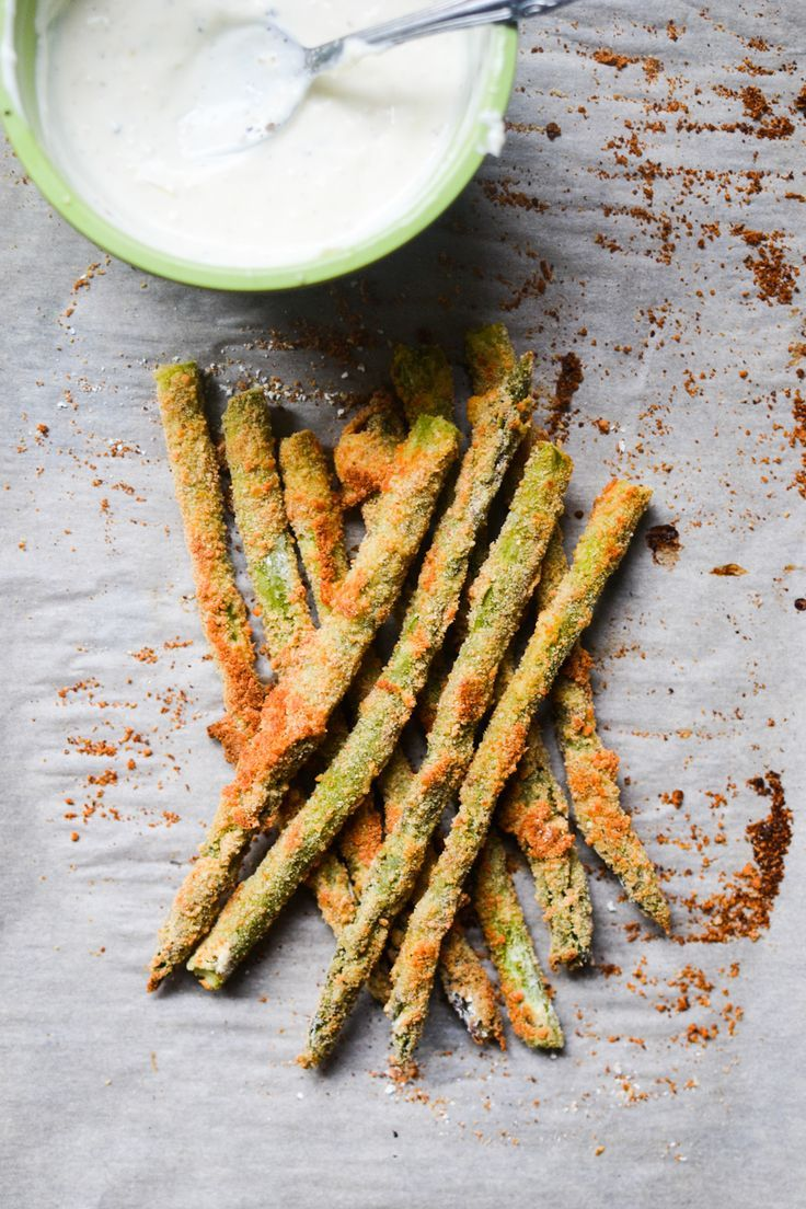 Baked Asparagus Fries with Lemon Pepper Mayo Warm Vanilla Sugar