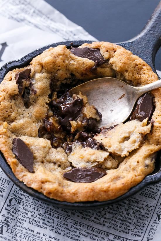 Mini Oatmeal Chocolate Chunk Skillet Cookies
