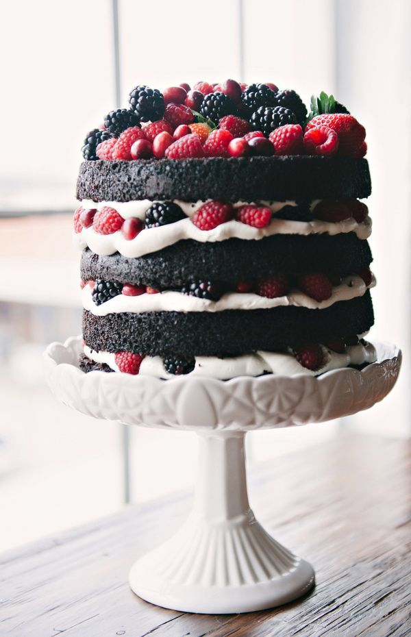 naked chocolate cake + fresh berries and whipped cream /Photos by